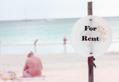 For Rent Sign. On the beach stock images