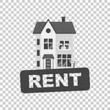 Rent sign with house. Home for rental. Vector illustration in fl Royalty Free Stock Photography