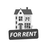 For rent sign with house. Home for rental. Vector illustration i Stock Images