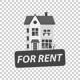 For rent sign with house. Home for rental. Vector illustration i Royalty Free Stock Photography