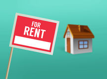 For rent sign and house vector Royalty Free Stock Image