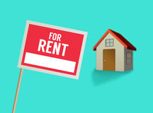 For rent sign and house vector Stock Photos