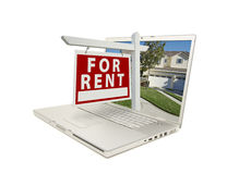 For Rent Sign on Laptop. For Rent Sign & New Home on Laptop isolated on a white Background stock photos