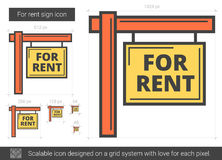 For rent sign line icon. For rent sign vector line icon isolated on white background. For rent sign line icon for infographic, website or app. Scalable icon Royalty Free Stock Image