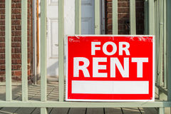 For rent sign. Posted in front of front porch stock image
