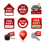 For rent signs, real estate icons, labels Royalty Free Stock Images