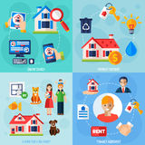 Rent and tenancy icons set Stock Photo