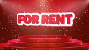 For Rent Text Animation Stage Podium Confetti Loop Animation royalty free illustration