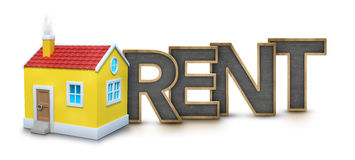 Rent text with 3d house Stock Image