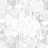 For rent. Words in city buildings background. Isometric top view. Gray lines outline contour style. Background real estate. Vector. Illustration clipart vector illustration