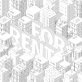 For rent. Words in city buildings background. Isometric top view. Gray lines outline contour style with shadows. Background real. Estate. Vector illustration royalty free illustration