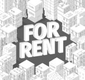 For rent. Words in city buildings. Isometric top view. Gray lines outline contour style with shadows. Real estate. Vector. Illustration clipart royalty free illustration