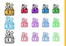 RENTA linear única de los iconos de las finanzas, depositando Esquema moderno i ilustración del vector