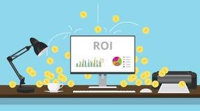 Rentabilidad de la inversión del ROI con la moneda del gráfico y de oro Imágenes de archivo libres de regalías