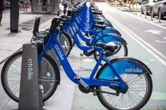 Rentable bikes on streets of Manhattan Stock Photo