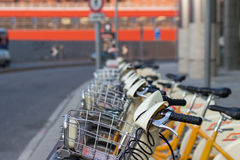 Rentable City Bikes in Milan, Italy royalty free stock image