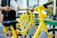 Free Rentable Eco City Bikes Royalty Free Stock Photos - 133764838