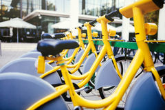 Rentable eco city bikes Royalty Free Stock Images