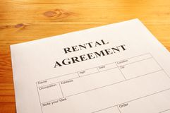 Rental agreement. Form on desktop in business office showing real estate concept Royalty Free Stock Photography