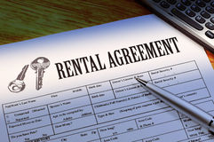Rental agreement. Rental aggrement form two key Royalty Free Stock Photography