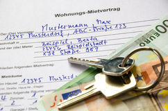 Rental agreement for an apartment with Euros and set of keys Royalty Free Stock Image