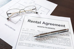 Rental agreement contract Stock Photography