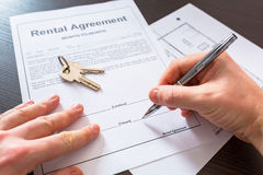 Rental agreement contract. To sign Royalty Free Stock Photo