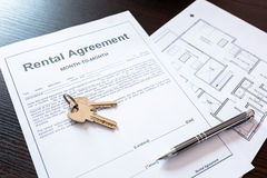 Rental agreement contract Royalty Free Stock Photo