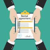 Rental agreement form contract. Signing document. Vector illustration flat design. Isolated on background vector illustration