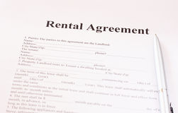 Rental agreement form with pen. Pic royalty free stock photos