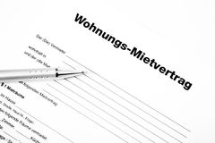 Rental agreement form. With a pencil Stock Image
