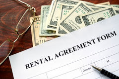 Rental agreement form. Stock Photo