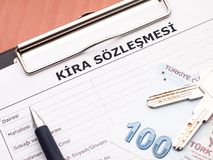 Rental agreement in Turkish stock photo