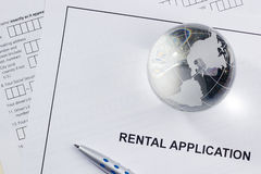Rental Application. Directly above photograph of a rental application Stock Photos