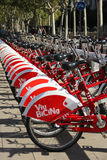 Rental bicycles in Barcelona Royalty Free Stock Photos
