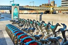 Rental bicycles downtown Dublin Royalty Free Stock Photos