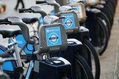 Rental bicycles, London's bicycle sharing scheme Stock Photography