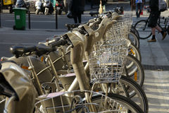 Rental bicycles in paris. Row of rental bikes in paris, france Stock Photos