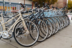Rental bicycles. Port Townsend, WA, USA October 31, 2016: Row of rental bicycles lined up on sidewalk outside of cycle store Stock Image