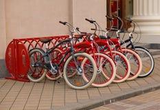 Rental of bicycles Stock Photos
