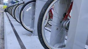 Rental Bike rack. In urban environment stock photography