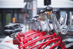 Rental bikes in antwerp. ANTWERP, BELGIUM - OCTOBER 2, 2016: With 1000 bicycles and 80 stations, Velo is among the largest bike sharing systems worldwide Royalty Free Stock Photo