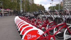 Rental bikes in Barcelona stock footage
