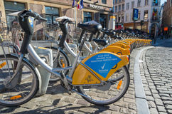 Rental bikes in brussels Stock Photography