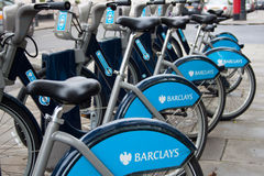 Rental bikes in london Stock Photo