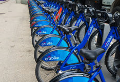 Rental bikes in new york city. NEW YORK - APRIL 27, 2016: Rental bikes in downtown manhattan. Citi Bike is a privately owned public bicycle sharing system that Stock Photos
