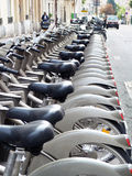 Rental bikes, Paris, France stock image