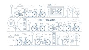Rental bikes parked at docking stations on city street, electronic payment terminals, map stand and trees. Concept of. Public bicycle sharing or rent Royalty Free Stock Photo