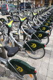 Rental bikes in a row in Stockholm Stock Image