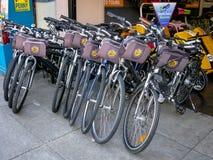 Rental bikes in San Francisco stock images